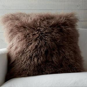 Tibetan / Mongolian Lamb Fur Pillows  - Set of Two